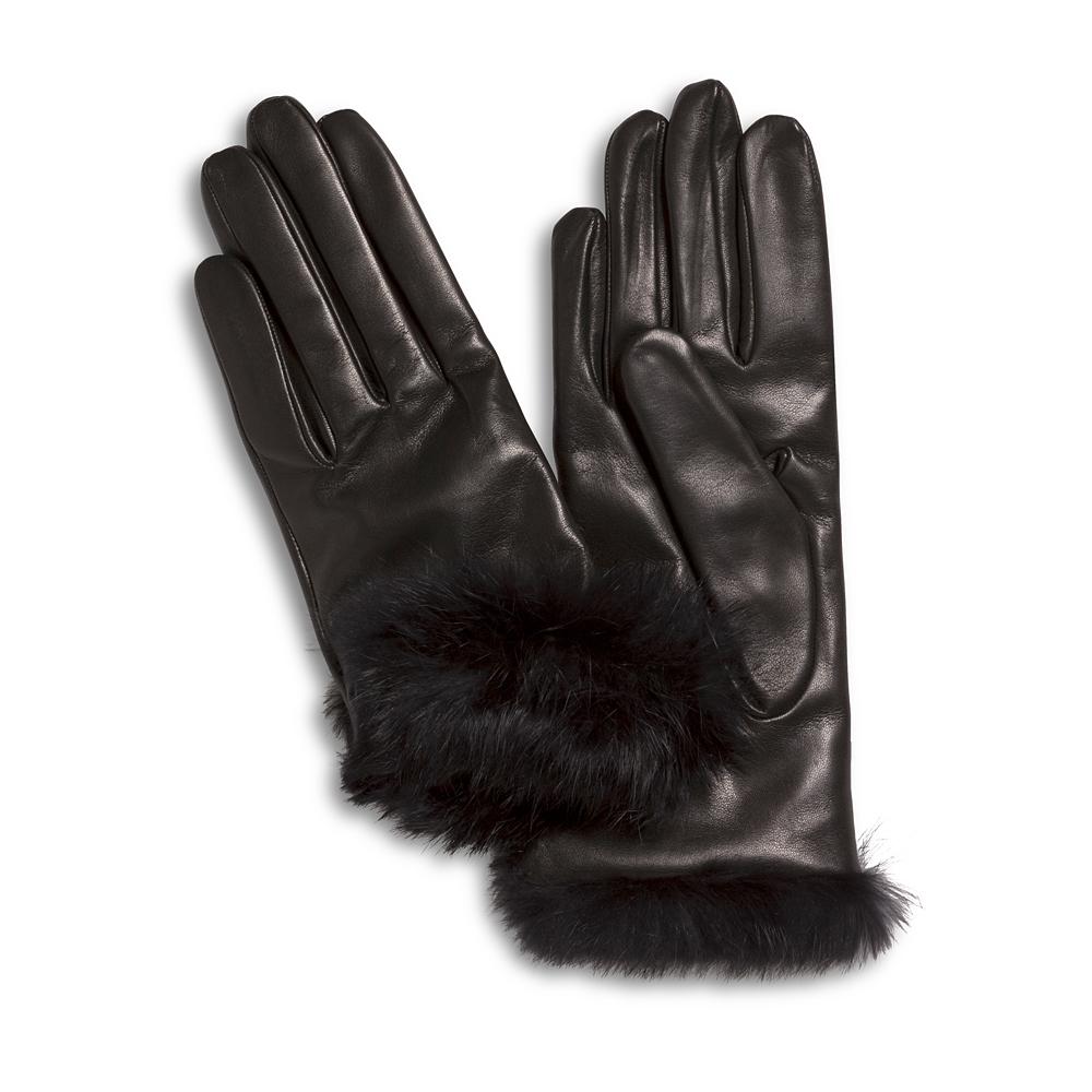 Lamslederen handschoenen met bontrand